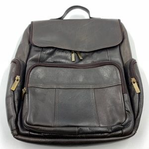 Backpack computer laptop bag soft brown leather